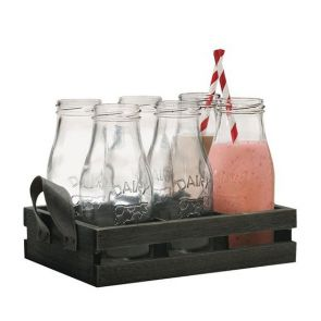 Avanti Glass Milk Bottle w/ Candy Stripe Straw 6pc Set in Wooden Tray