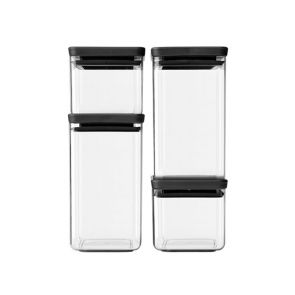 Brabantia 4pc Square Food Canister Dark Grey
