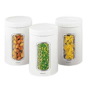 Brabantia Window Canister 3pc Set White 1.4L