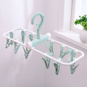 Clip & Drip Foldable Drying Hanger 12 Clips Aqua