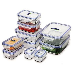 Glasslock 10 Piece Tempered Glass Food Storage Container Set
