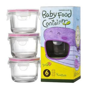 Glasslock 3 Piece Baby Food Round Glass Container Set 165ml