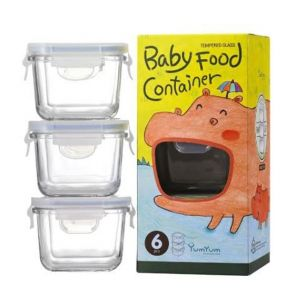 Glasslock 3 Piece Baby Food Square Glass Container Set 210ml