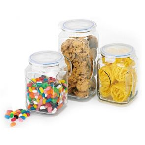 Glasslock 3 Piece Storage Glass Canister Set