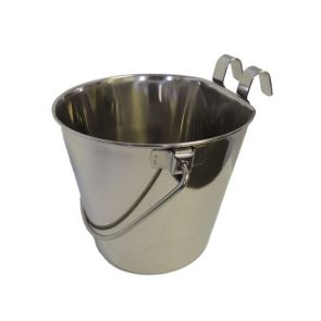 Superior Pet Flat Sided Stainless Steel Dog Water Bucket With Hook